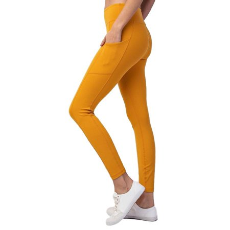 P6043 Women's High Waist Side Pockets Yoga Athletic Pants Workout Running Power Flex Workout 4 Way Stretch Leggings Non See-Through Fabric Mustard (Best Running Pants With Pockets)