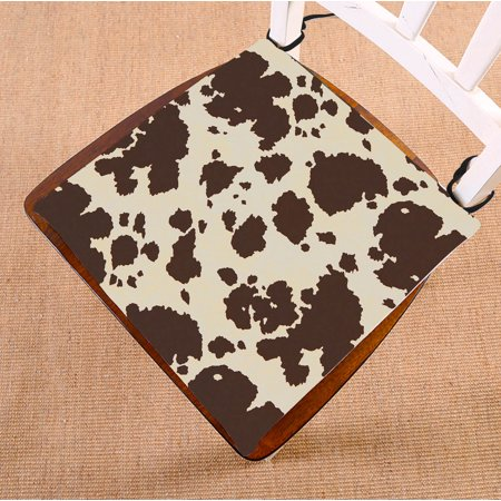 GCKG Vintage Big Cow Bull Fur Animal Chair Pad Seat Cushion Chair Cushion Floor Cushion with Breathable Memory Inner Cushion and Ties Two Sides Printing 16x16inch