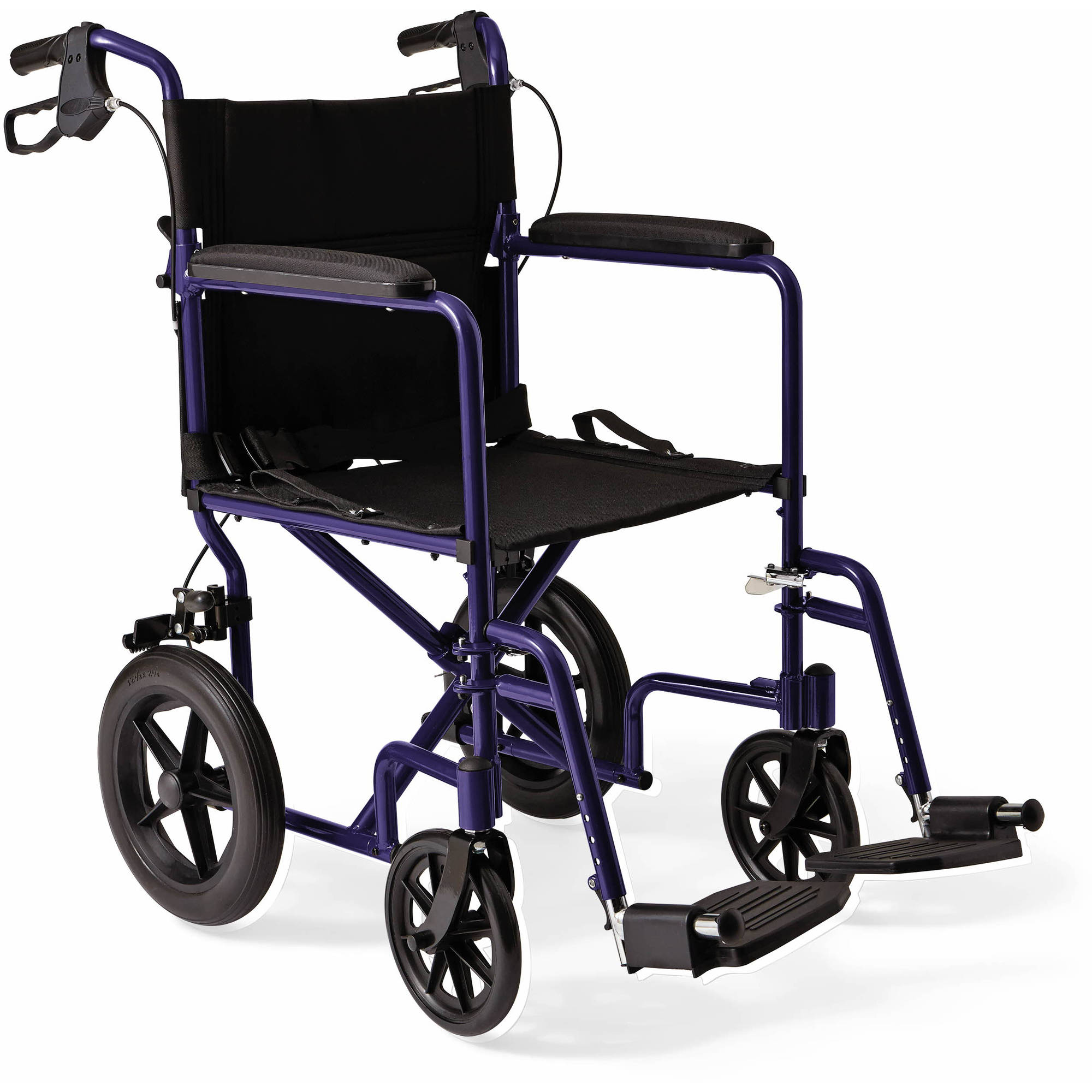 Medline Excel Deluxe Aluminum Transport Chair with Hand Brakes