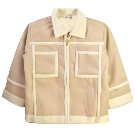 Kid's Girls Boxy Suede Zip Up Jacket W/ Shearling Collar Detail Interior Cream 110 CM (Zip Detail Jacket)