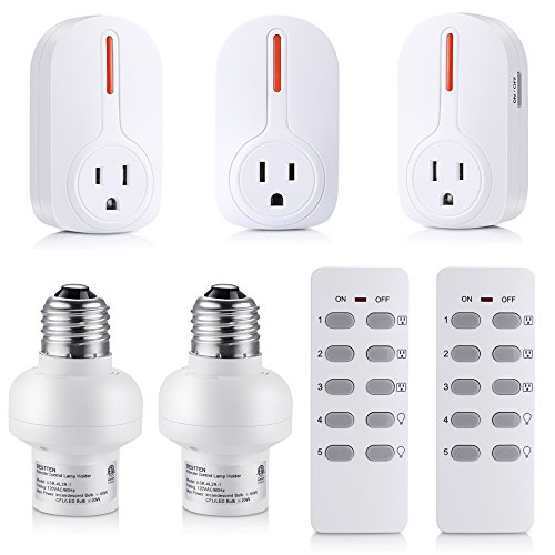 Bestten Wireless Remote Control Outlet Switch and Light Socket Combo Set (3 Electrical Outlets, 2 Lamp Holders, 2 Remotes), Home Automation Set