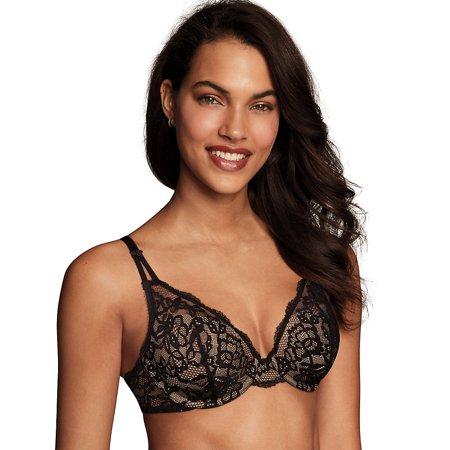 Maidenform Modern Beauty™ Lightly Lined Demi Bra - Size - 32B - Color - Black/Body Beige