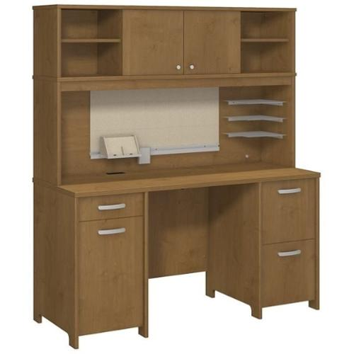 Bush Envoy Computer Desk with Hutch in Natural Cherry