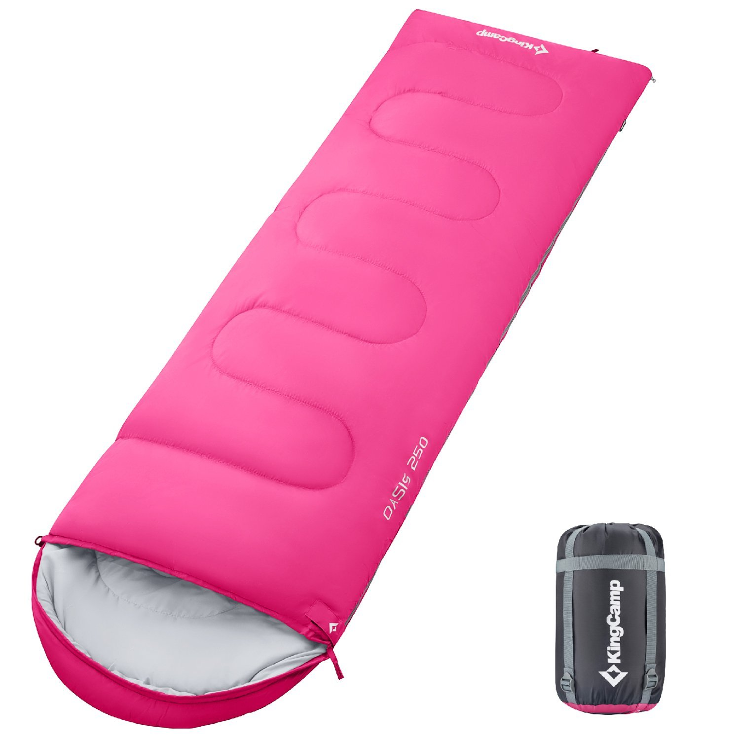 KingCamp Envelope Sleeping Bag 4 Season Lightweight Comfort with Compression Sack Camping Backpack Temp Rating 26F/-3C