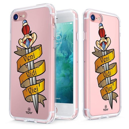 Iphone 7 Case True Color Clear Shield Jeweled Dagger Veni Vidi Vici Old School Tattoos Printed On Back Soft And Hard Thin Shock Absorbing