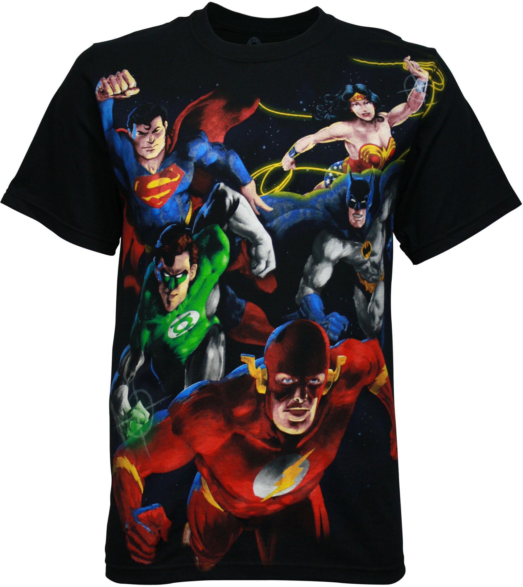 Men/'s T shirt Tie Dye DC COMICS Batman Superman Flash JUSTICE LEAGUE NEW BLACK