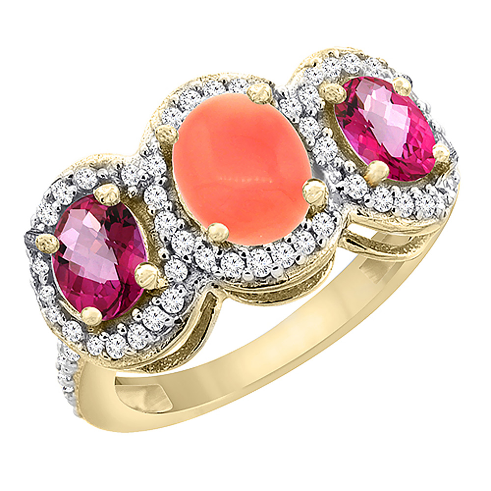 10K Yellow Gold Natural Coral & Pink Topaz 3-Stone Ring Oval Diamond Accent, size 6 by Gabriella Gold