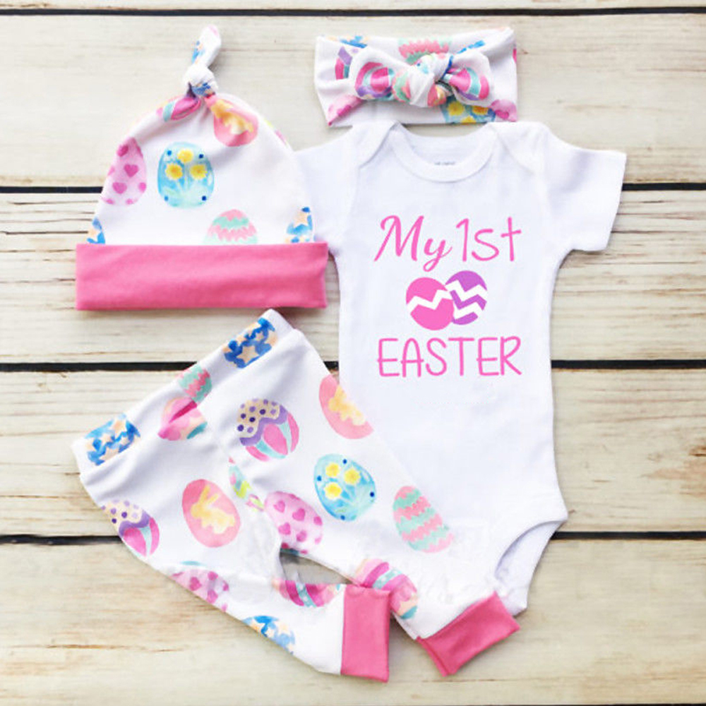 Newborn Infant Baby Girl Romper Tops+Long Pants+Hat+Headband 4PCS Outfit Clothes