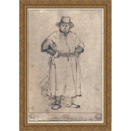 Self-portrait in studio attire 28x40 Large Gold Ornate Wood Framed Canvas Art by Rembrandt - Greek God Attire
