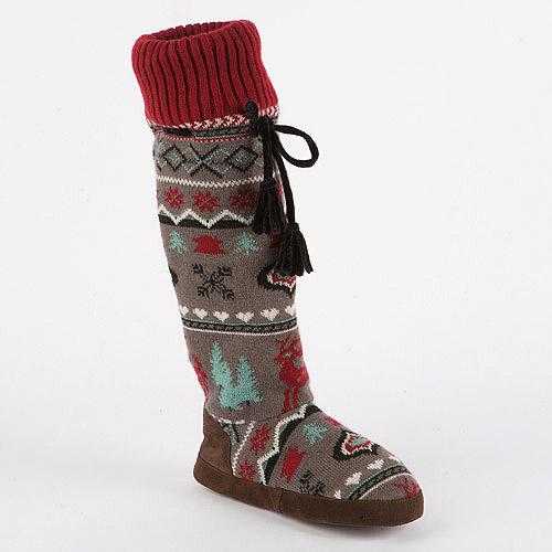 MUK LUKS Women's Angie Retro Nordic Knee High Slipper Socks