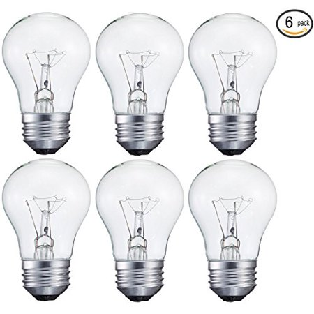 6 pack 15-Watt Decorative A15 Incandescent Light Bulb, Medium (E26) Standard Household Base Crystal -