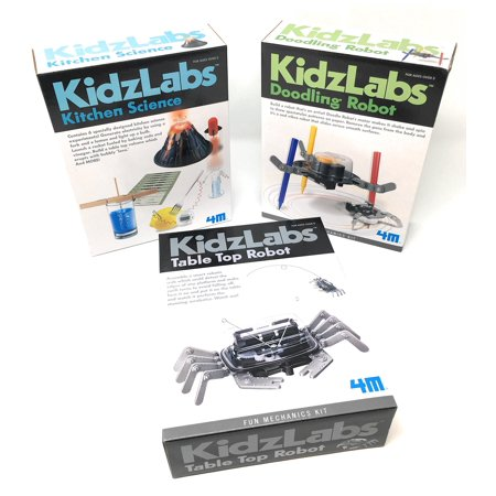KidzLabs Robot Toys Science Experiments for Kids, Kitchen Science, Table Top Robot, Doodling Robot - Science Kits for Kids - Robot - Robotics for Kids - Batteries/Screwdriver INCLUDED by 4M & MTGS - Top Educational Toys For 1 Year Olds