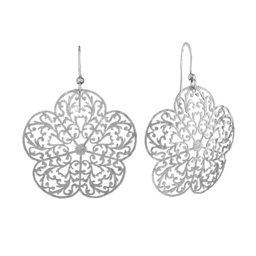 Isla Simone - Silver Tone Flower Etched Earring