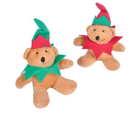 Plush Stuffed Festive Santa Elf Christmas Teddy Bear Toy