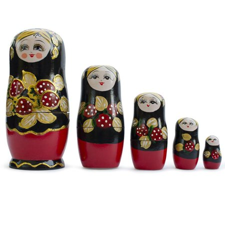 Cabbage Rose 3 Light (Set of 5 Strawberries Russian Nesting Dolls Matryoshka 6.5 Inches)