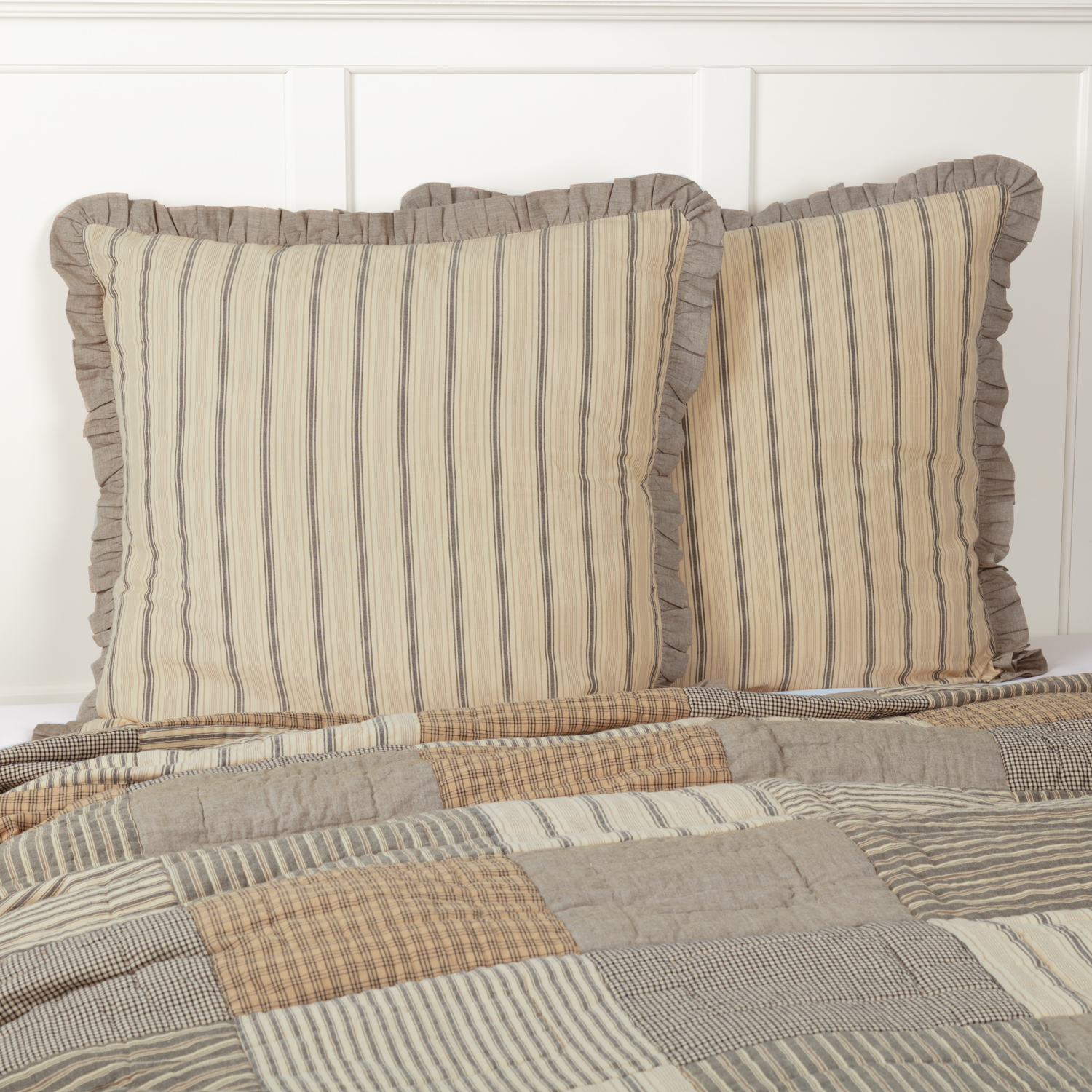 Dark Creme White Farmhouse Bedding Miller Farm Charcoal Cotton Striped Euro Sham