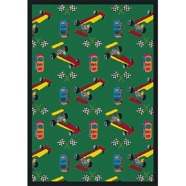 "Joy Carpets Playful Patterns - Children's Area Rugs Pit Stop, 3'10"" x 5'4"", Green"