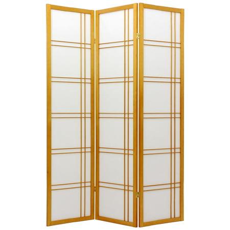 Walnut Folding Screen - 6' Tall Double Cross Shoji Screen