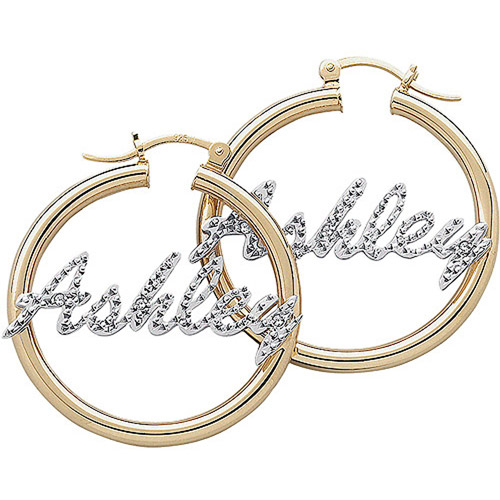 personalized accent name 14kt gold plated hoop