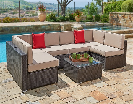 SUNCROWN Outdoor Sectional Sofa (7-Piece Set) Wicker Furniture w Brown Washable Seat Cushions & Modern Glass... by Suncrown