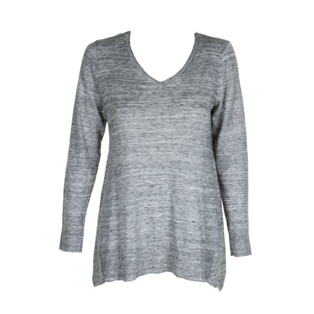 Style & Co Grey Heather Space Dyed V-Neck Tunic Sweater S