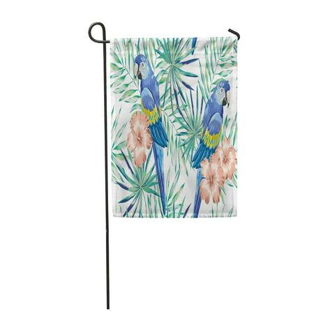 POGLIP Blue Macaw Parrots Mint Palm Leaves and Blush Pink Garden Flag Decorative Flag House Banner 28x40 inch - image 1 de 1