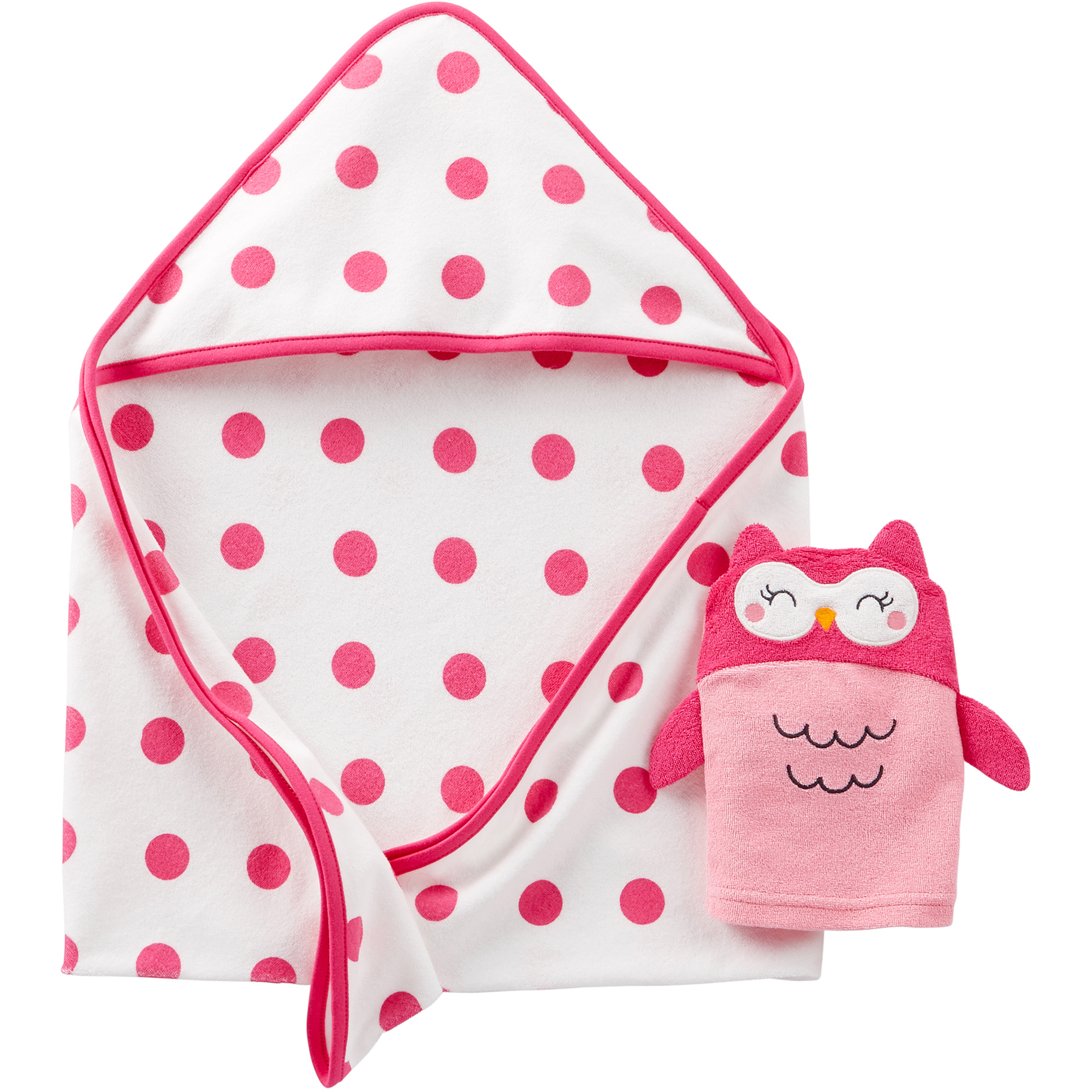Child Of Mine By Carters Newborn Baby Girl Hooded Towel and Bath Mitt Gift Set