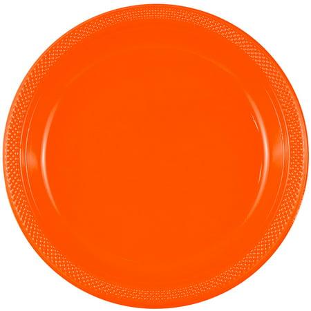 JAM Round Plastic Party Plates, Orange, 20/Pack, Medium, 9
