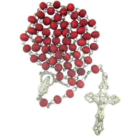 Rose Rosary - Rose Scented Carved Petal Prayer Bead Rosary with Our Lady of Grace Centerpiece, 18 Inch