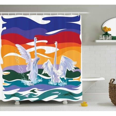Swamp Backdrop (Animal Shower Curtain Set, Funky Style Image of Swan Couple Swimming in the Sea Rainbow Color Sky Backdrop Modern Print, Bathroom Decor,  Multi, by)