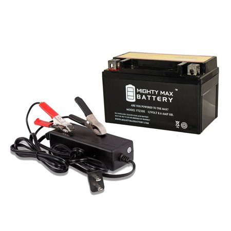 YTZ10S Battery Replaces Duralast Motorcycle GTZ10S-BS + 12V 2A Chargr