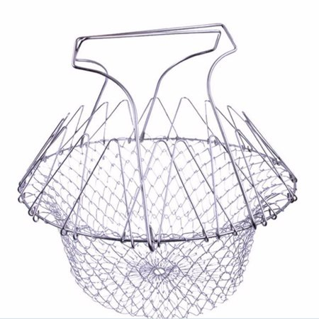 Stainless Steel Expandable Foldable Fry Chef Basket Colander Mesh Basket Strainer Net Steam Rinse Cooking Tools Kitchen Gadgets