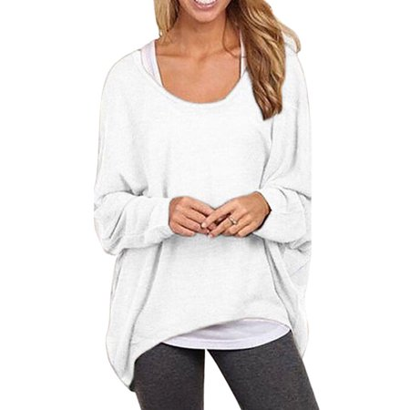 Women Oversized Loose Sweater Autumn Long Batwing Sleeve Top Pullover Jumper Blouse Casual High-low O Neck Tunic