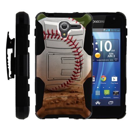 TurtleArmor ® | For Kyocera Hydro View | Hydro Reach | Hydro Shore [Hyper Shock] Hybrid Dual Layer Armor Holster Belt Clip Case Kickstand - Baseball - Hydro Belt