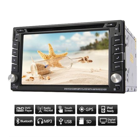 GPS Navigation Car Video PC Audio Receiver in Dash Double Din Auto Radio System Car Stereo System CD DVD Player BT Audio Head Unit Digital 6.2 inch Car Logo iPod