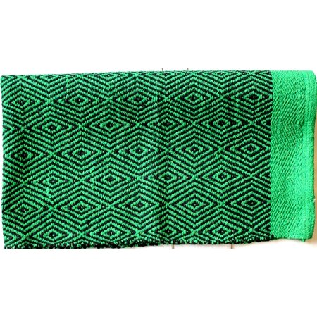 32x64 Cotton Blend Western Trail Horse SADDLE BLANKET Double Weave Green 3706 Double Bull Dark Horse