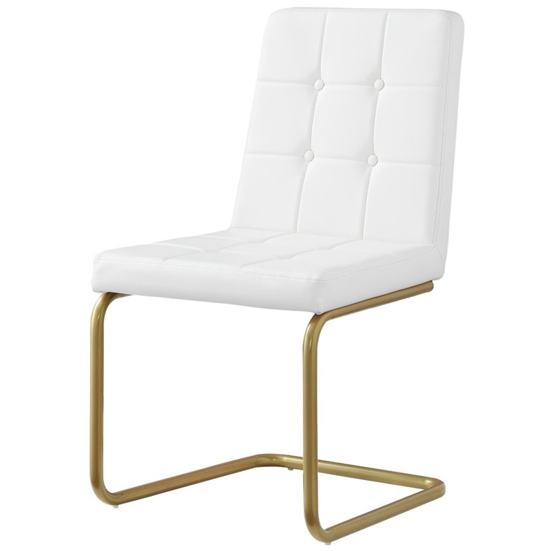 Jonathan White Leather Dining Chair   Set Of 2   Tufted   Gold Frame