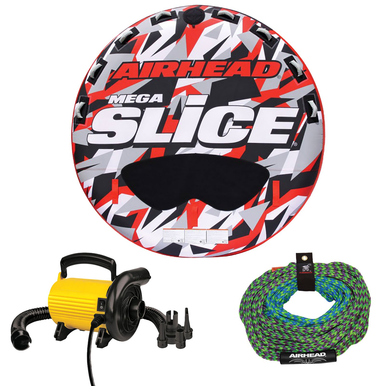 Sportsstuff Stunt Flyer 1-2 Person Inflatable Towable Tube w  Tow Rope and Pump by Kwik Tek