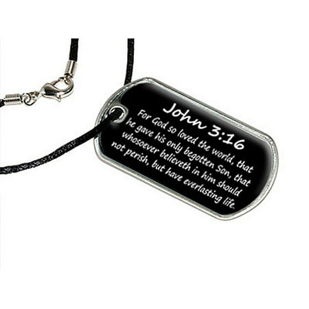 Life Love Pendant - John 3-16 - For God so loved the world, that he gave his only begotten Son, that whosoever believeth in him should not perish, but have everlasting life. - christian - bible Dog Tag