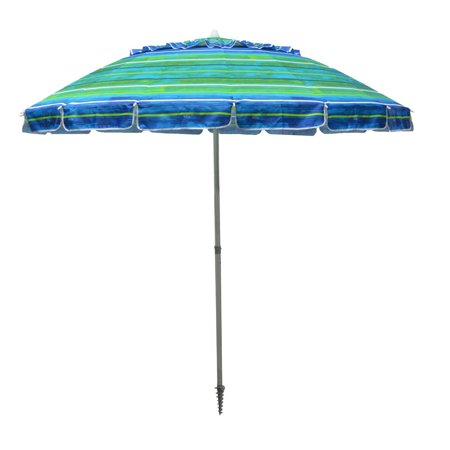 4daeaa6938ce Impact Canopy 8' Beach Umbrella, UV Protected, Vented, Tilt Pole, Sand  Anchor, Carry Bag, Blue/Green
