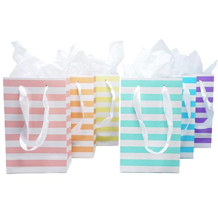 12 Unicorn Pastel Rainbow Paper Gift Bags with Tissue Paper Satin Ribbon Handles Party Gift Wrapping Satin Gift Bag
