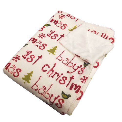 The Holiday Aisle ConCo Baby's 1st Christmas Micro plush Baby Blanket