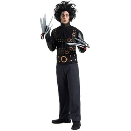 Adults Edward Scissorhands Costume With Wig & Gloves](Edward Scissorhands Halloween Makeup)