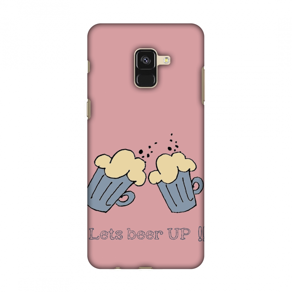 Samsung Galaxy A8 2018 Case - Let''s beer up !!- Dust coral, Hard Plastic Back Cover, Slim Profile Cute Printed Designer Snap on Case with Screen Cleaning Kit