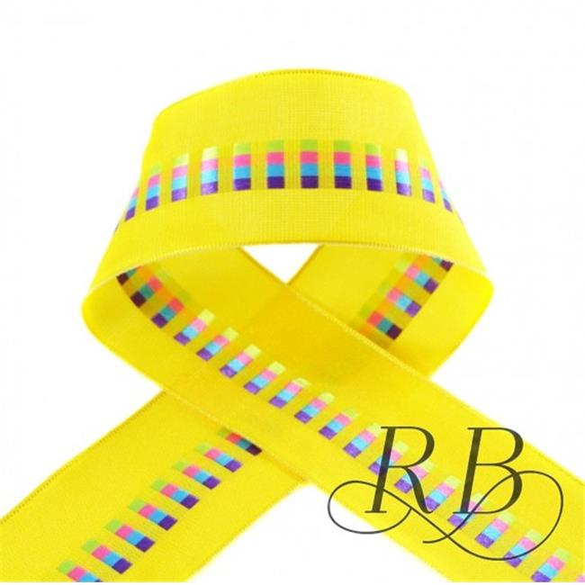 Ribbon Bazaar 4689 1.5 in. Wired Taffeta Ribbon with Block Motifs, Yellow - 50 Yards