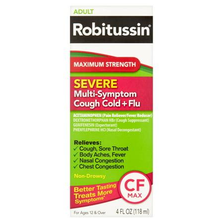 Robitussin Adult Maximum Strength Severe Multi Symptom Cough Cold Flu Liquid  4 Fl Oz