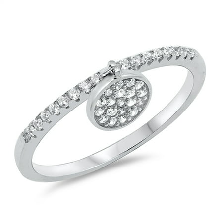 - Clear CZ Hanging Micro Pave Circle Charm Ring ( Sizes 5 6 7 8 9 10 ) Sterling Silver Band Rings by Sac Silver (Size 10)