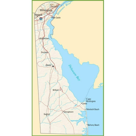 Laminated Poster Delaware State Map City County Dover Road Poster Print 24 x 36 - Party City Delaware