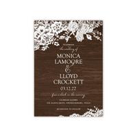 Personalized Wedding Invite - Rustic Lace Border - 5 x 7 Flat