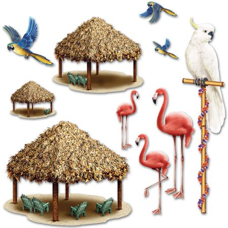 The Beistle Company Tiki Hut and Tropical Bird Props 10 Tiki Hut